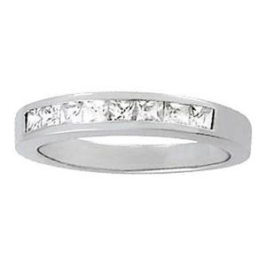 0.54 Carat Diamond Engagement Band Princess White